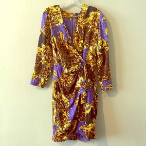 Gorgeous Purple Leopard Print Silk Wrap Dress